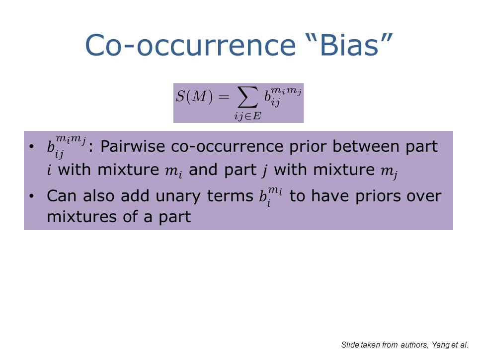 Co-occurrence Bias Slide taken from authors, Yang et al.