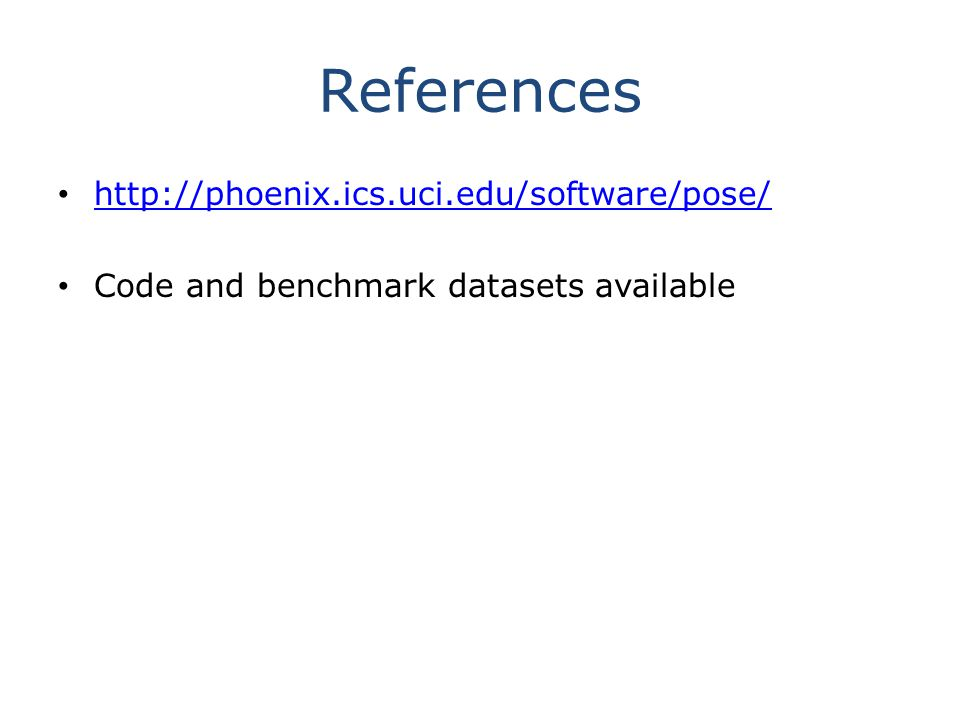 References   Code and benchmark datasets available