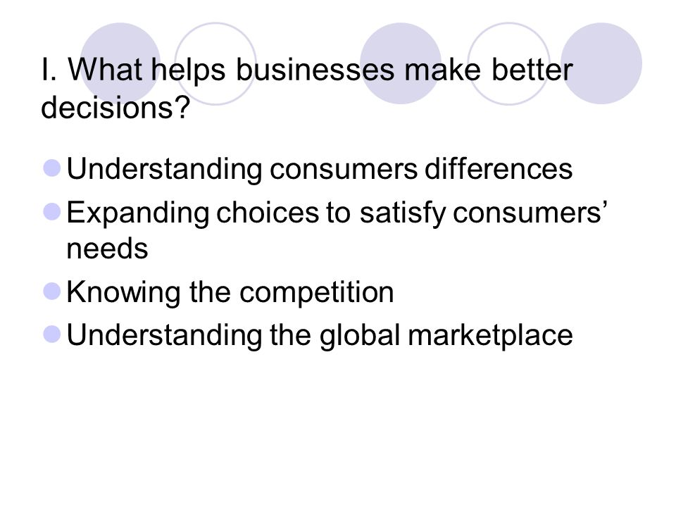 I. What helps businesses make better decisions.