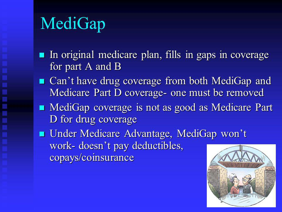 MediGap In original medicare plan, fills in gaps in coverage for part A and B In original medicare plan, fills in gaps in coverage for part A and B Can't have drug coverage from both MediGap and Medicare Part D coverage- one must be removed Can't have drug coverage from both MediGap and Medicare Part D coverage- one must be removed MediGap coverage is not as good as Medicare Part D for drug coverage MediGap coverage is not as good as Medicare Part D for drug coverage Under Medicare Advantage, MediGap won't work- doesn't pay deductibles, copays/coinsurance Under Medicare Advantage, MediGap won't work- doesn't pay deductibles, copays/coinsurance