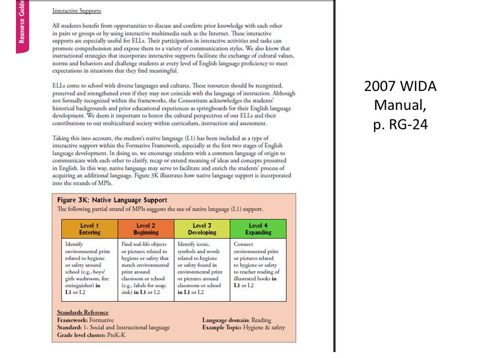 2007 WIDA Manual, p. RG-24