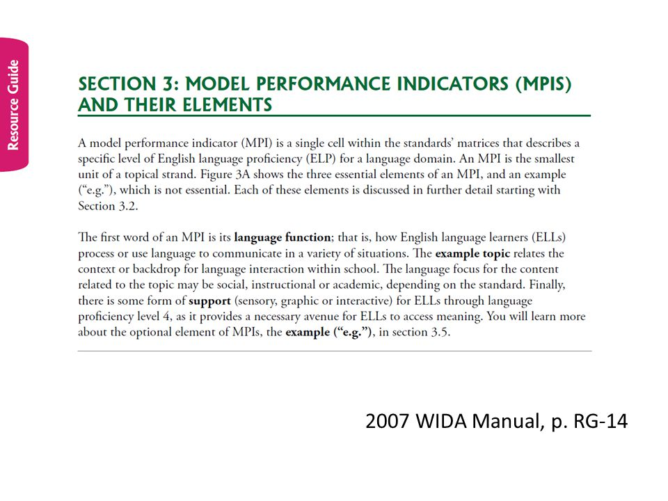 2007 WIDA Manual, p. RG-14