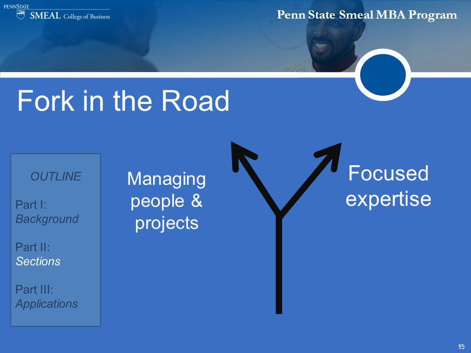 Penn State Smeal MBA Program 15 Fork in the Road Managing people & projects Focused expertise