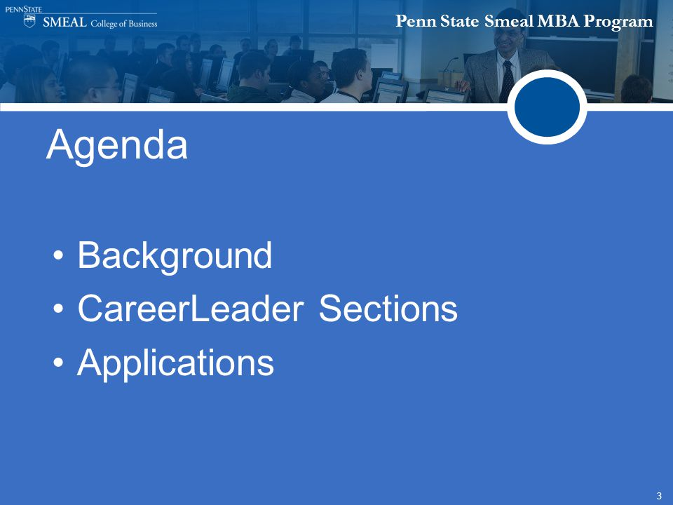 Penn State Smeal MBA Program 3 Agenda Background CareerLeader Sections Applications