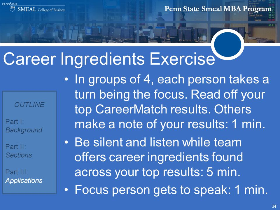 Penn State Smeal MBA Program 34 In groups of 4, each person takes a turn being the focus.