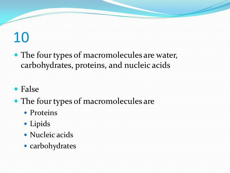 10 The four types of macromolecules are water, carbohydrates, proteins, and nucleic acids False The four types of macromolecules are Proteins Lipids N