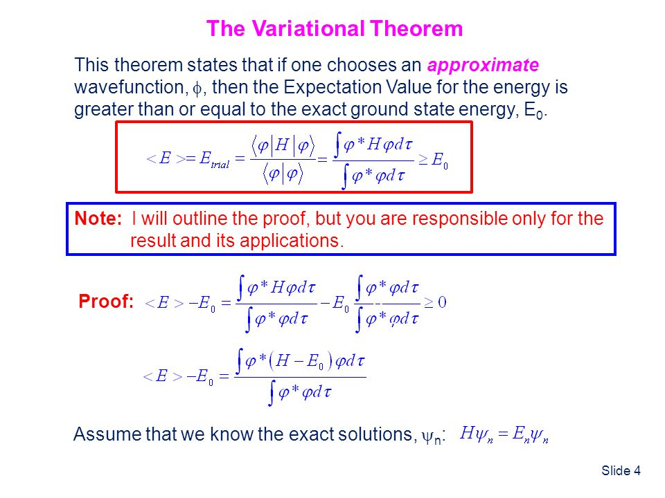 Slide 25 Perturbation Theory Treatment of Helium The Helium Hamiltonian can be rewritten as: where H (0) is exactly solvable, as we just showed in the independent particle method.