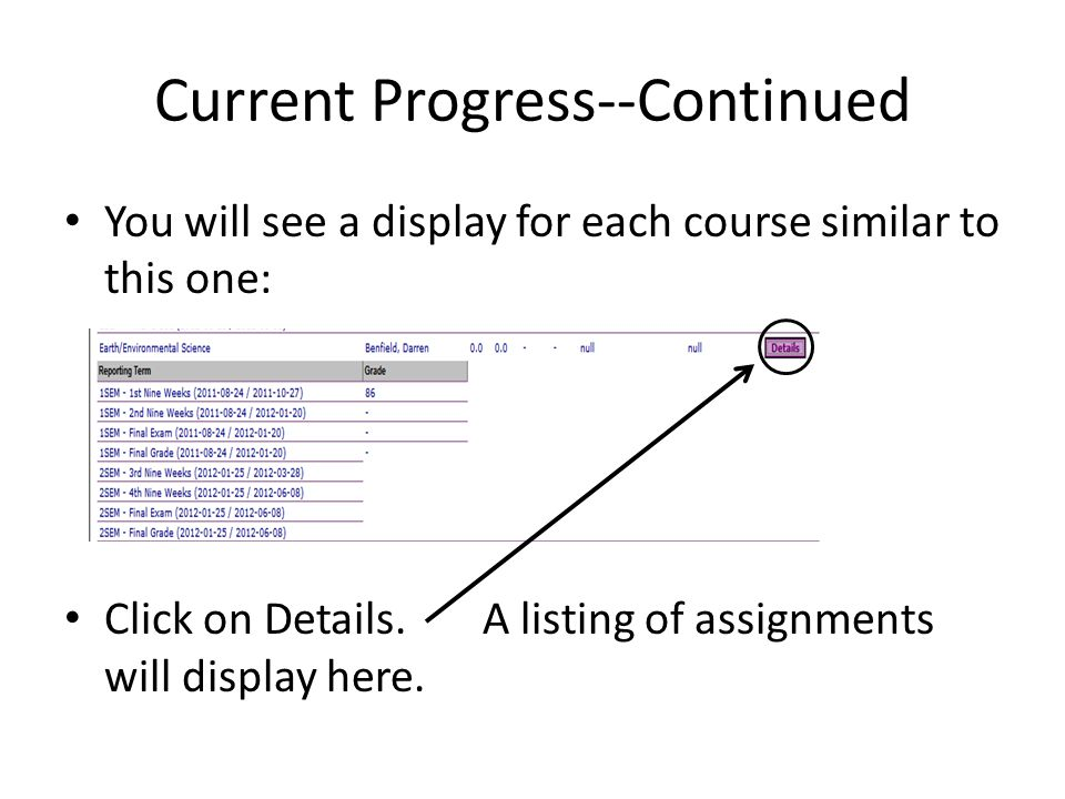 Current Progress--Continued You will see a display for each course similar to this one: Click on Details. A listing of assignments will display here.