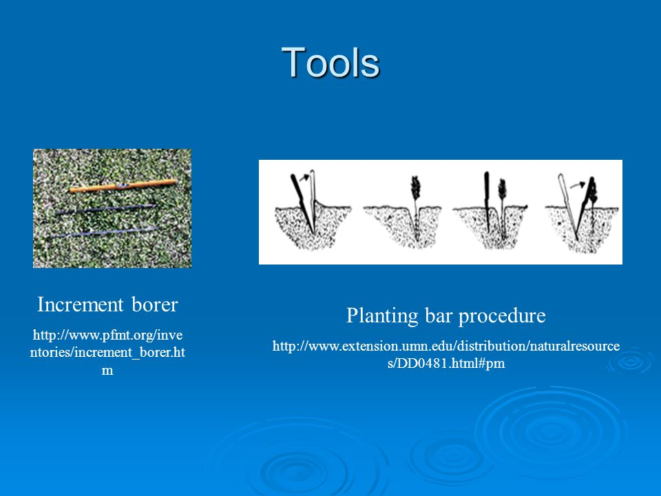 Tools Increment borer   ntories/increment_borer.ht m Planting bar procedure   s/DD0481.html#pm