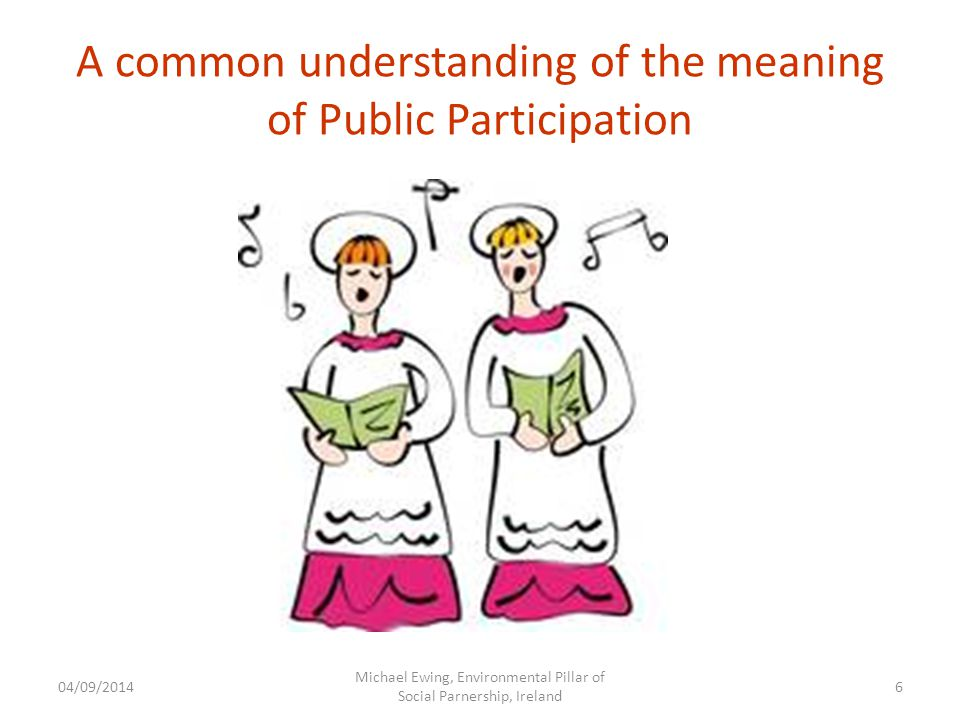 A common understanding of the meaning of Public Participation 04/09/2014 Michael Ewing, Environmental Pillar of Social Parnership, Ireland 6
