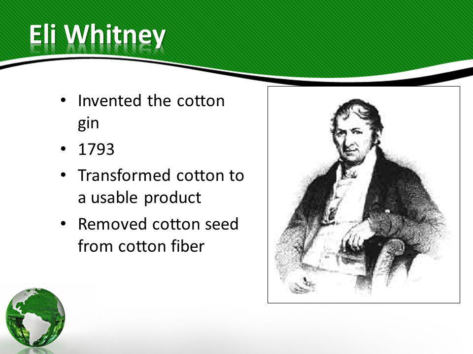 Invented the cotton gin 1793 Transformed cotton to a usable product Removed cotton seed from cotton fiber