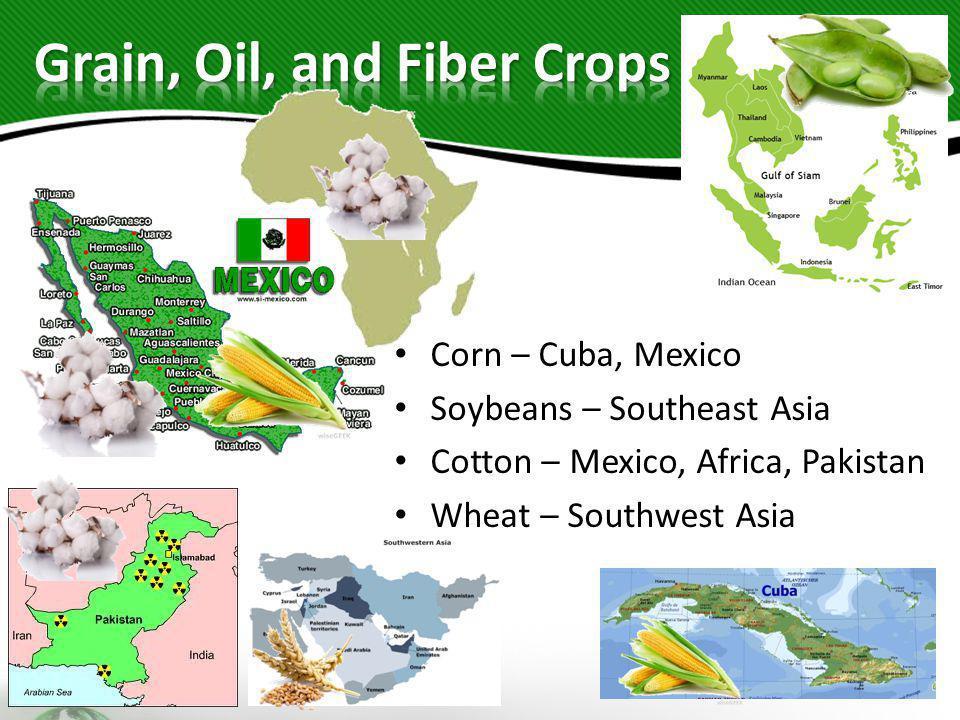 Corn – Cuba, Mexico Soybeans – Southeast Asia Cotton – Mexico, Africa, Pakistan Wheat – Southwest Asia