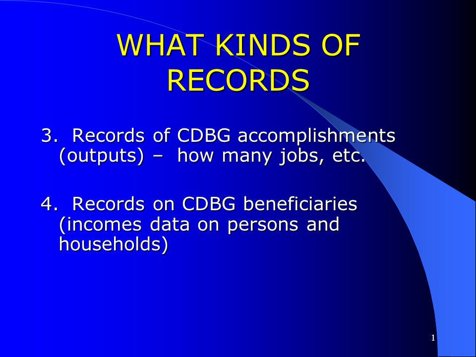 1 WHAT KINDS OF RECORDS? TEN Broad Categories of Records TEN Broad Categories of Records 1. Records showing progress in meeting Consolidated Plan prio