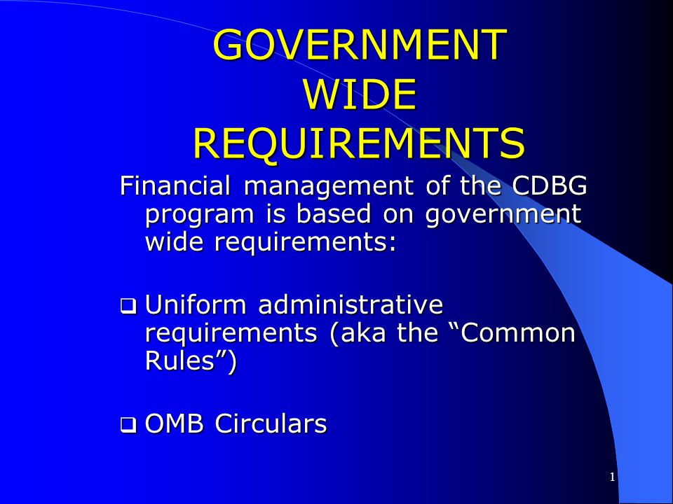 1 FINANCIAL MANAGEMENT OF THE CDBG PROGRAM