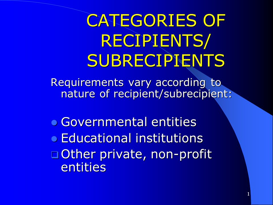 1 APPLICATION OF REQUIREMENTS TO ENTITLEMENT PROGRAM Government wide requirements are applied to CDBG entitlement recipients/subrecipients at 24 CFR §
