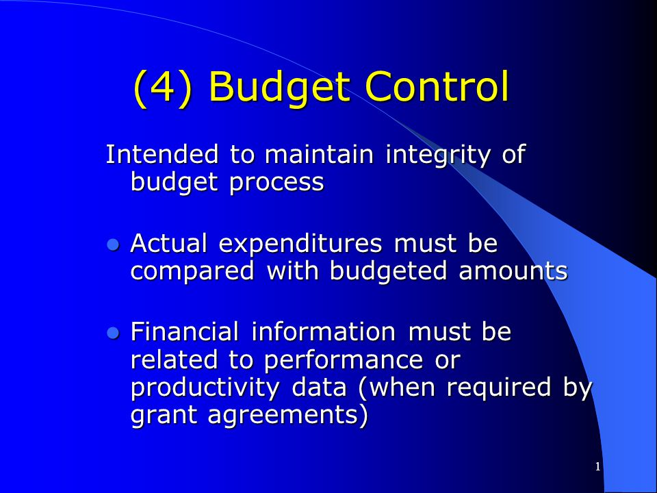 1 (3) Internal Control Effective control and accountability must be maintained for all grant and sub-grant cash, real and personal property, and other