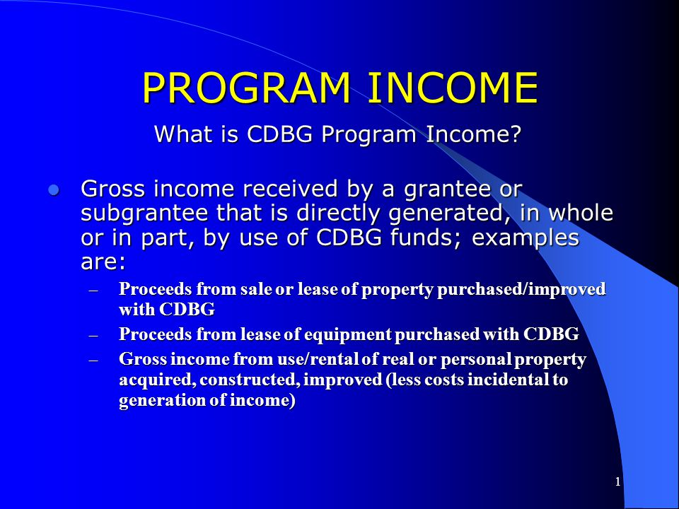 1 PROGRAM INCOME What is CDBG Program Income?