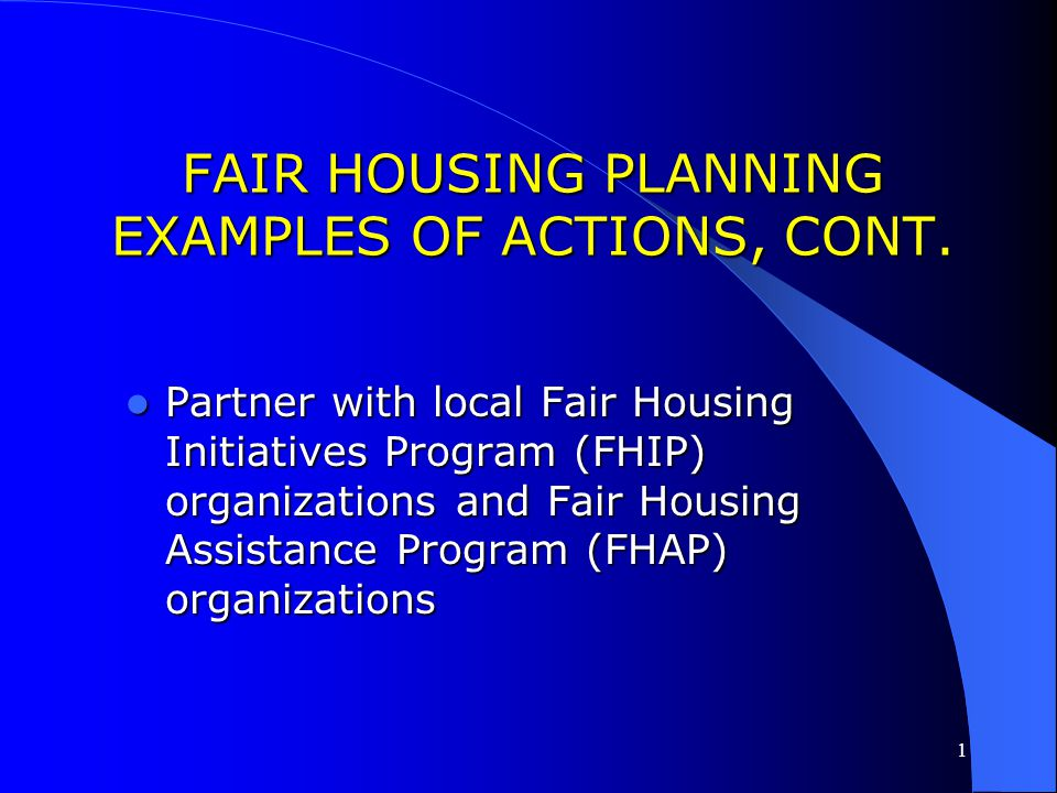 1 FAIR HOUSING PLANNING EXAMPLES OF ACTIONS, CONT. Translate crucial information into different languages to better serve the limited English proficie