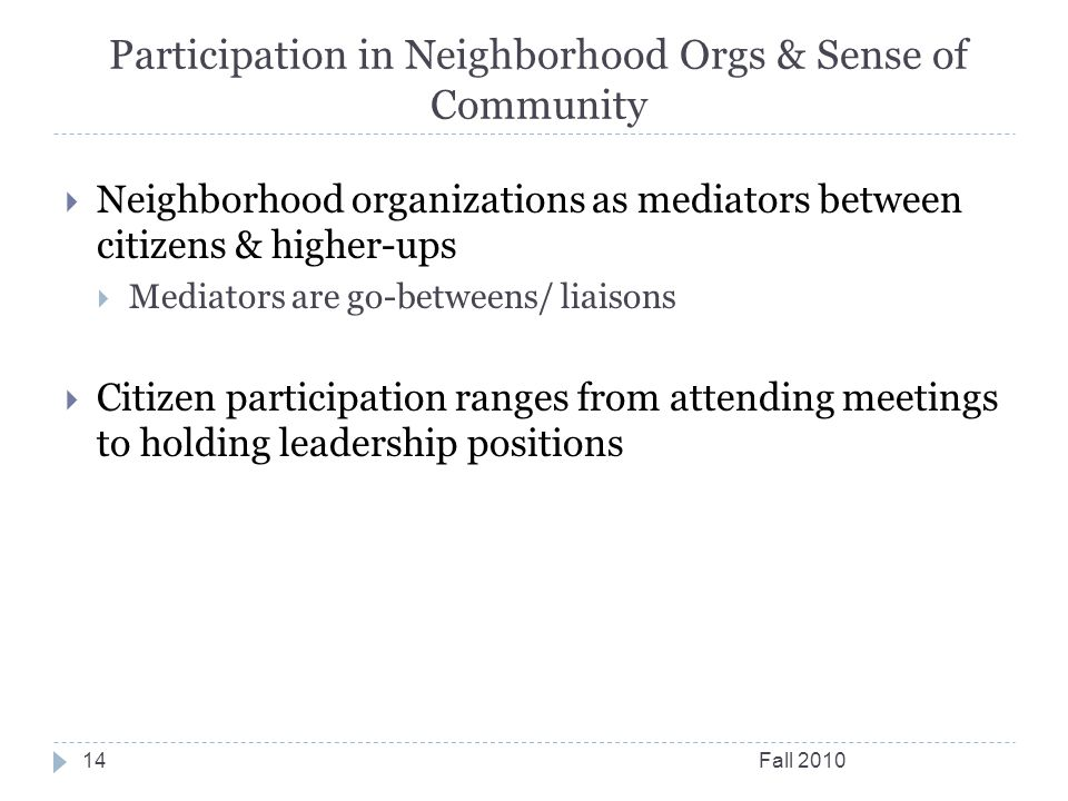 Participation in Neighborhood Orgs & Sense of Community Fall 201014  Neighborhood organizations as mediators between citizens & higher-ups  Mediator