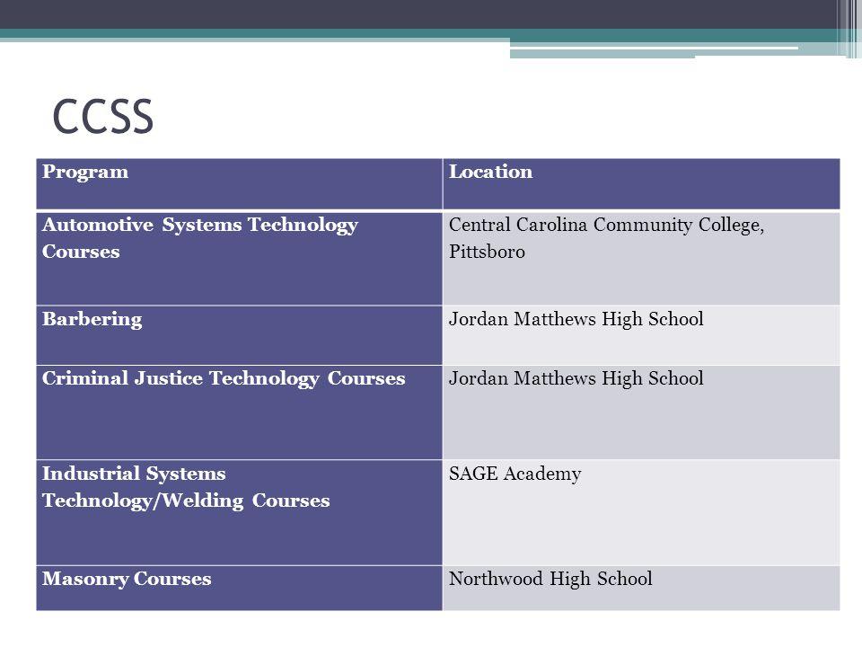 CCSS ProgramLocation Automotive Systems Technology Courses Central Carolina Community College, Pittsboro BarberingJordan Matthews High School Criminal