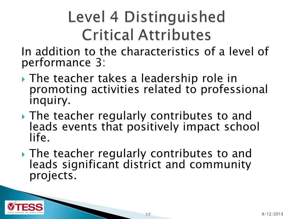 In addition to the characteristics of a level of performance 3:  The teacher takes a leadership role in promoting activities related to professional inquiry.