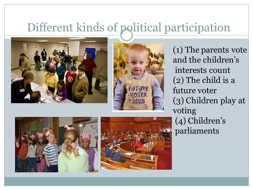 Different kinds of political participation (1) The parents vote and the children's interests count (2) The child is a future voter (3) Children play a