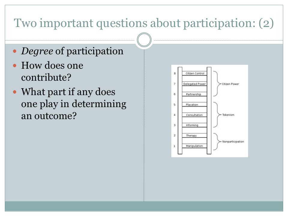 Two important questions about participation: (2) Degree of participation How does one contribute? What part if any does one play in determining an out