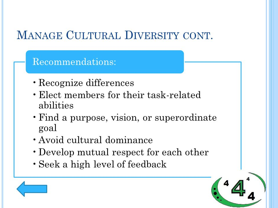 M ANAGE C ULTURAL D IVERSITY CONT. Recognize differences Elect members for their task-related abilities Find a purpose, vision, or superordinate goal