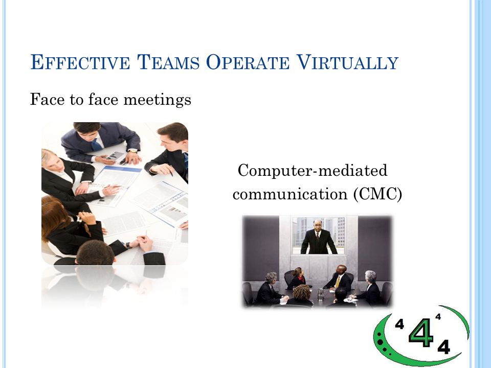 E FFECTIVE T EAMS O PERATE V IRTUALLY Face to face meetings Computer-mediated communication (CMC)