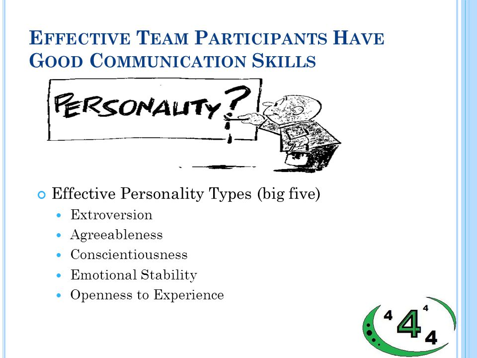 E FFECTIVE T EAM P ARTICIPANTS H AVE G OOD C OMMUNICATION S KILLS Effective Personality Types (big five) Extroversion Agreeableness Conscientiousness Emotional Stability Openness to Experience