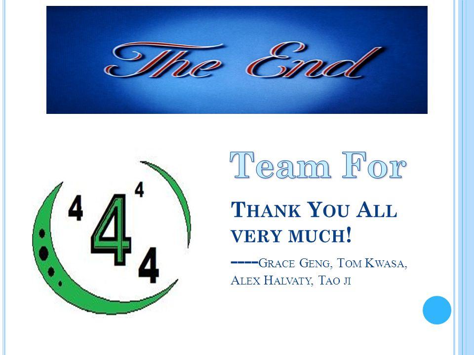 T HANK Y OU A LL VERY MUCH ! ---- G RACE G ENG, T OM K WASA, A LEX H ALVATY, T AO JI