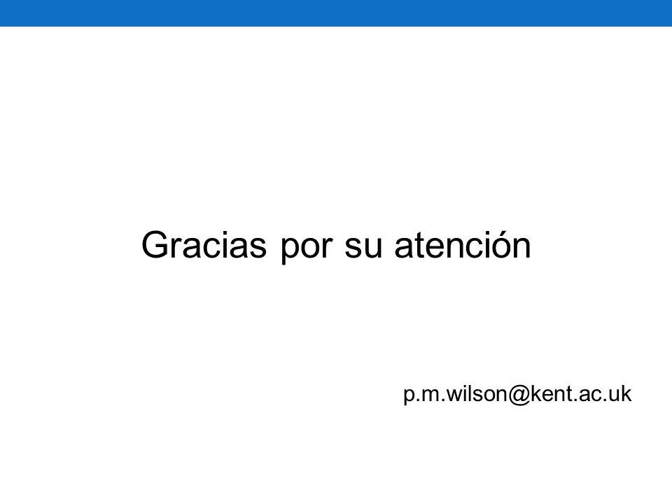 Gracias por su atención p.m.wilson@kent.ac.uk