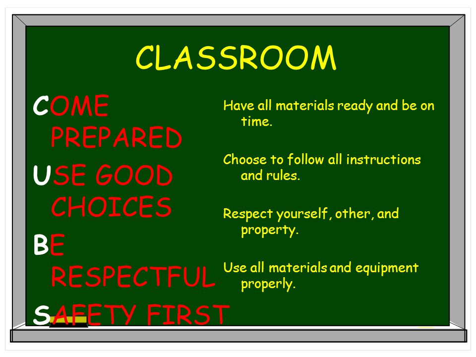 C.G. CREDLE'S SCHOOL EXPECTATIONS COME PREPARED USE GOOD CHOICES BE RESPECTFUL SAFETY FIRST