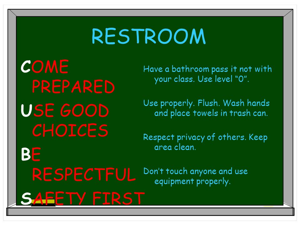 CAFETERIA COME PREPARED USE GOOD CHOICES BE RESPECTFUL SAFETY FIRST Have everything you need before you sit down. Use a 0 voice level on red and 1 on