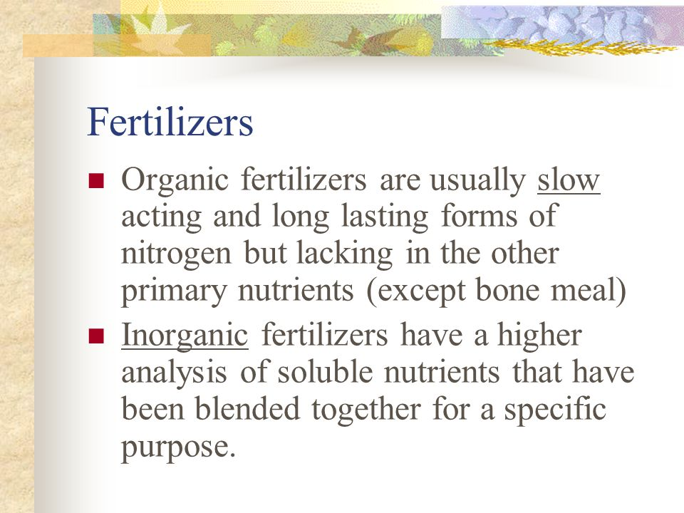 Fertilizers Organic fertilizers are usually slow acting and long lasting forms of nitrogen but lacking in the other primary nutrients (except bone mea