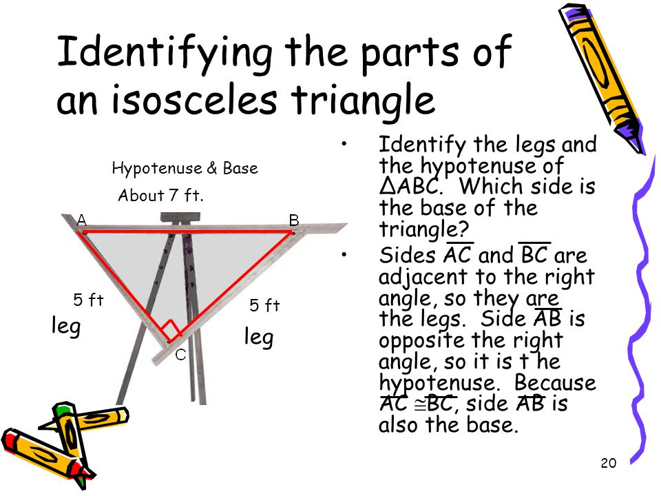 20 Identifying the parts of an isosceles triangle Identify the legs and the hypotenuse of ∆ABC.