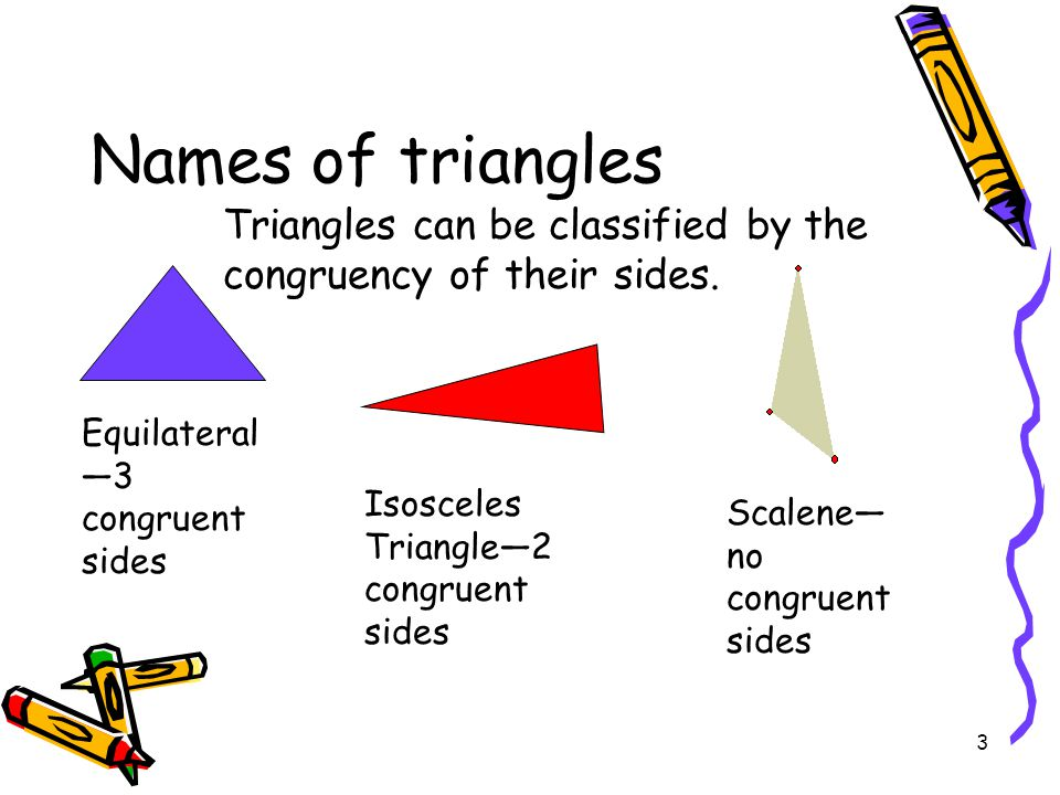 3 Names of triangles Equilateral —3 congruent sides Isosceles Triangle—2 congruent sides Scalene— no congruent sides Triangles can be classified by the congruency of their sides.