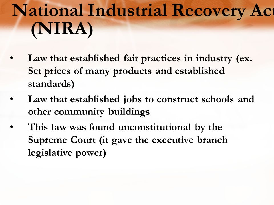 National Industrial Recovery Act (NIRA) Law that established fair practices in industry (ex.