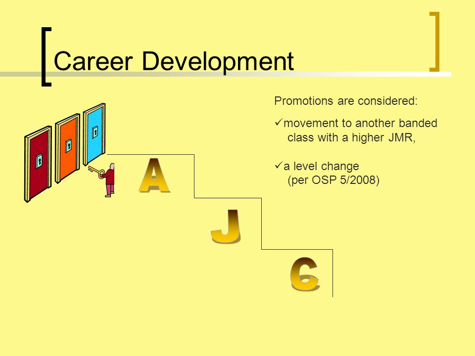 Career Development Promotions are considered: movement to another banded class with a higher JMR, a level change (per OSP 5/2008)