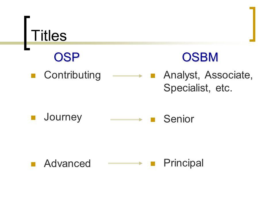 Titles Contributing Journey Advanced Analyst, Associate, Specialist, etc. Senior Principal OSPOSBM