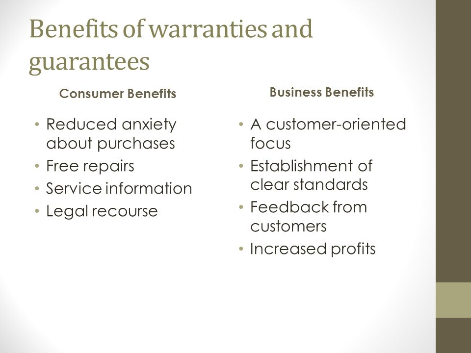 Benefits of warranties and guarantees Consumer Benefits Reduced anxiety about purchases Free repairs Service information Legal recourse Business Benefits A customer-oriented focus Establishment of clear standards Feedback from customers Increased profits