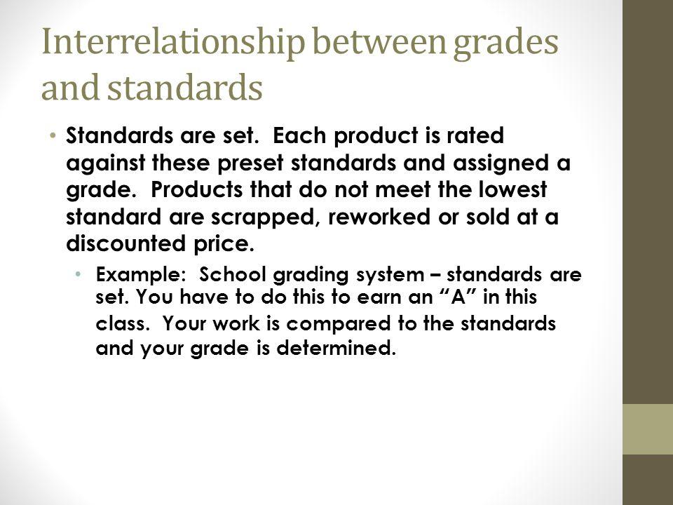 Interrelationship between grades and standards Standards are set.