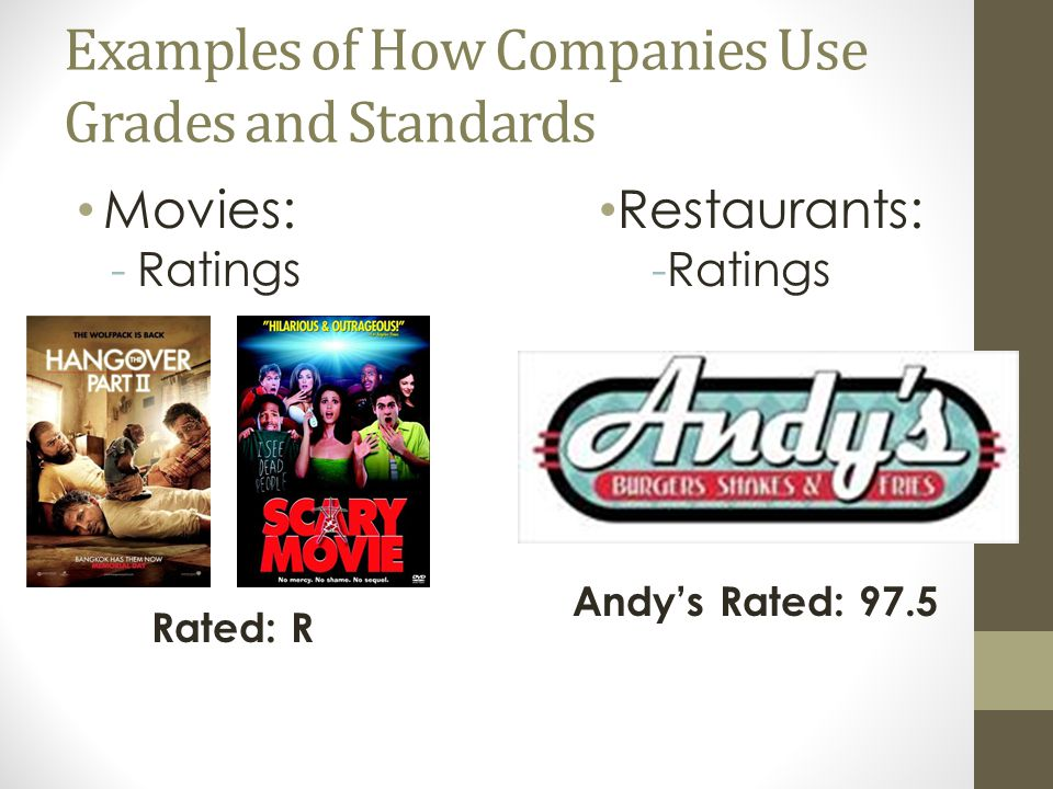 Examples of How Companies Use Grades and Standards Movies: -Ratings Rated: R Restaurants: -Ratings Andy's Rated: 97.5