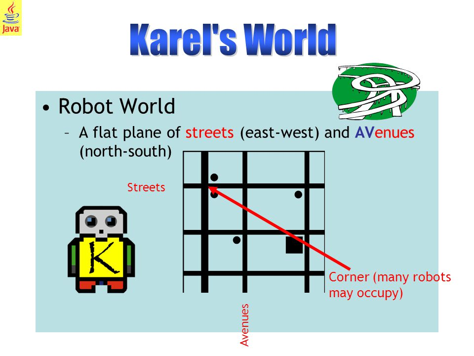 4 Robot World –A flat plane of streets (east-west) and AVenues (north-south) Corner (many robots may occupy) Streets Avenues