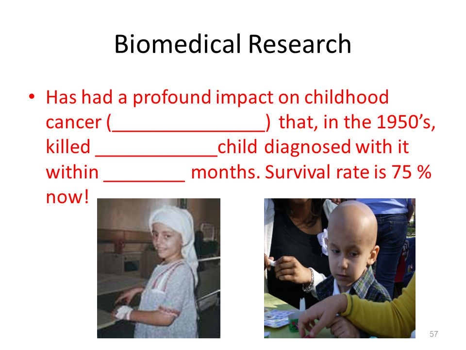 Biomedical Research Has had a profound impact on childhood cancer (_______________) that, in the 1950's, killed ____________child diagnosed with it wi