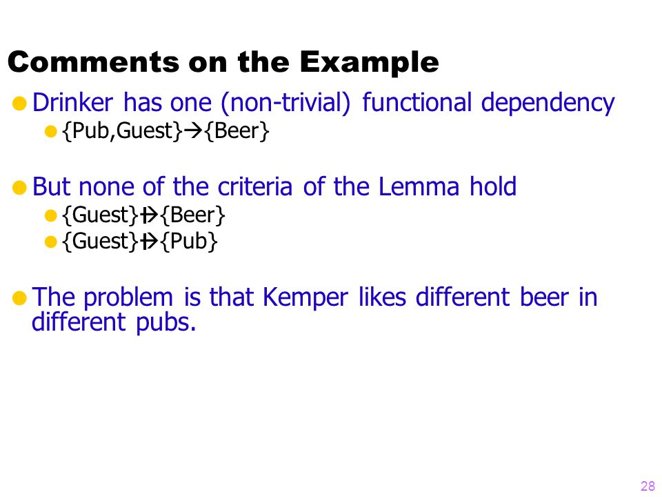 Comments on the Example  Drinker has one (non-trivial) functional dependency  {Pub,Guest}  {Beer}  But none of the criteria of the Lemma hold  {Guest}  {Beer}  {Guest}  {Pub}  The problem is that Kemper likes different beer in different pubs.