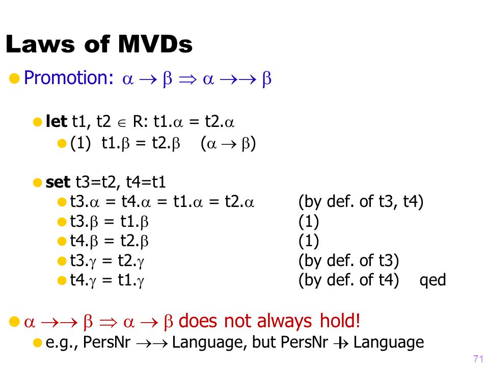 Laws of MVDs  Promotion:     let t1, t2  R: t1.