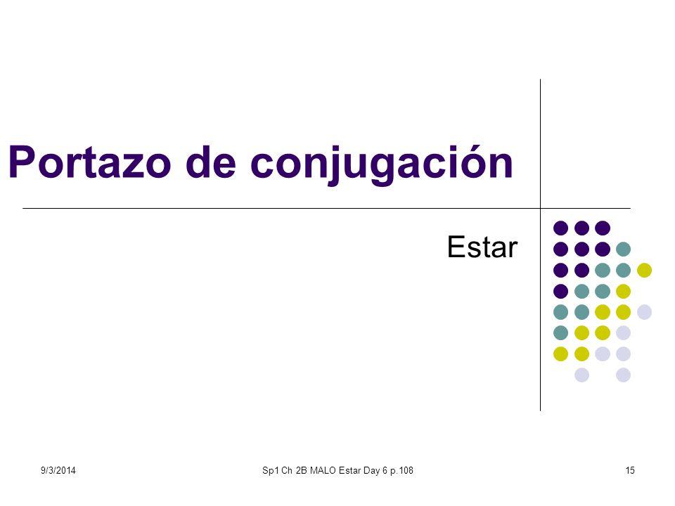 9/3/2014Sp1 Ch 2B MALO Estar Day 6 p.10816 El portazo de conjugación 1.