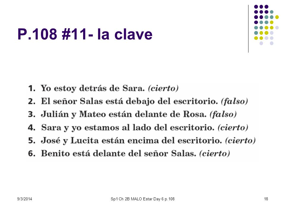 9/3/2014Sp1 Ch 2B MALO Estar Day 6 p.10818 P.108 #11- la clave
