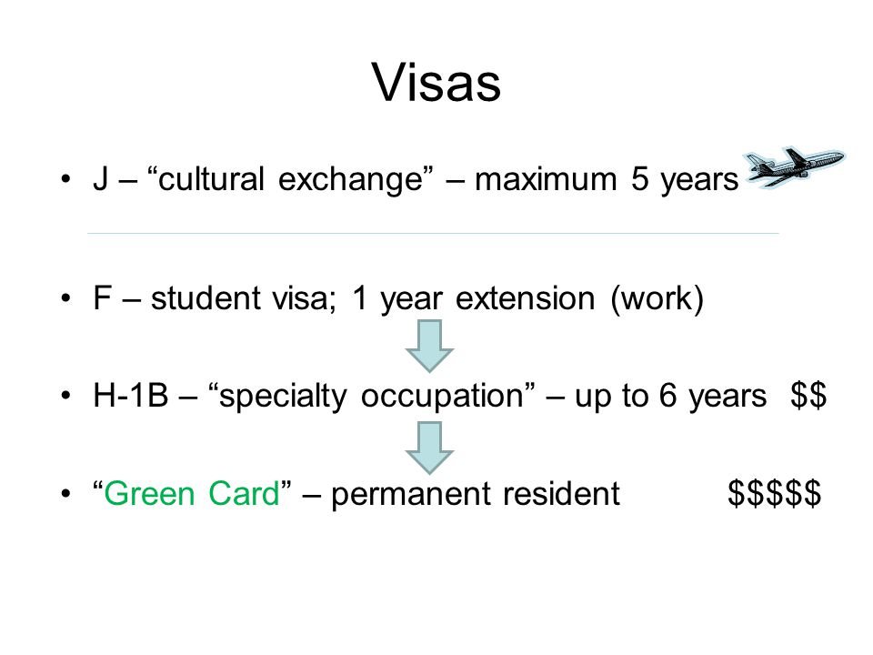 Visas J – cultural exchange – maximum 5 years F – student visa; 1 year extension (work) H-1B – specialty occupation – up to 6 years $$ Green Card – permanent resident $$$$$